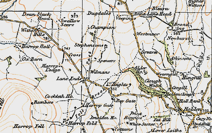 Old map of Alder Ho in 1924