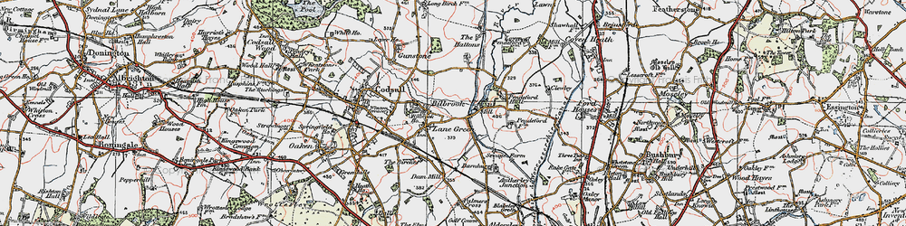 Old map of Lane Green in 1921