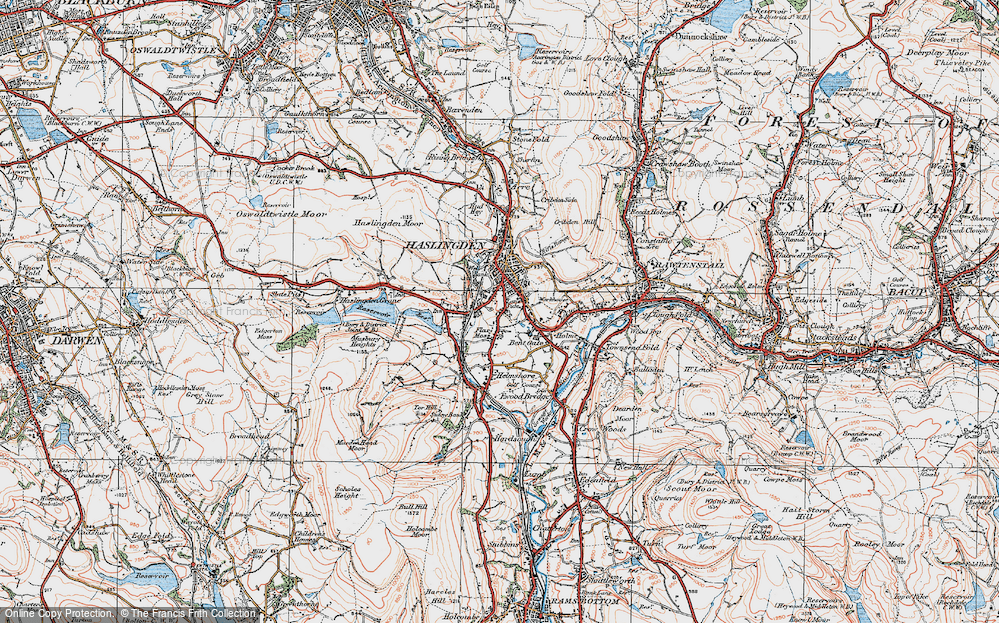 Old Map of Lane Side, 1924 in 1924