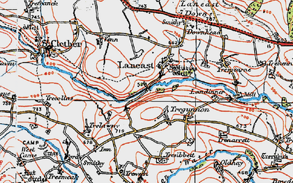 Old map of Laneast in 1919