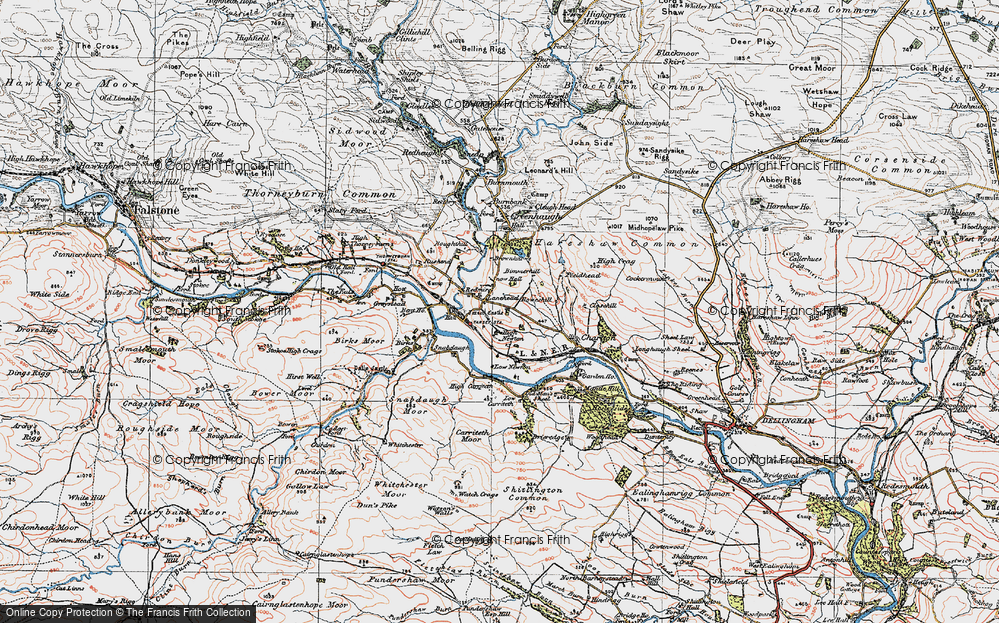 Old Map of Lanehead, 1925 in 1925