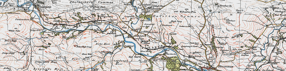 Old map of Whitchester Moor in 1925