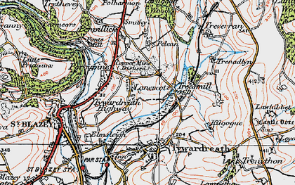 Old map of Lanescot in 1919