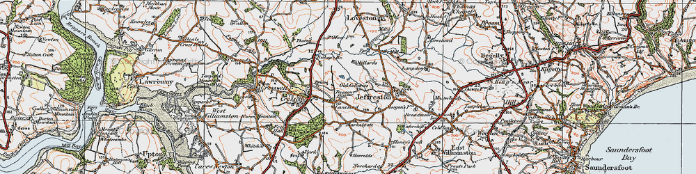 Old map of Lanesend in 1922