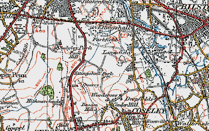 Old map of Lanesfield in 1921