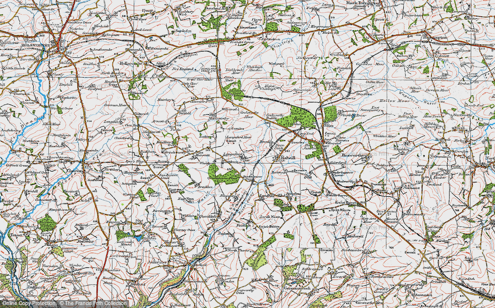 Old Map of Historic Map covering Langaford Moor in 1919