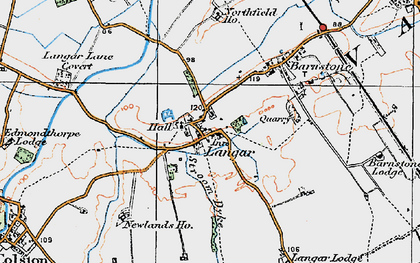 Old map of Langar in 1921