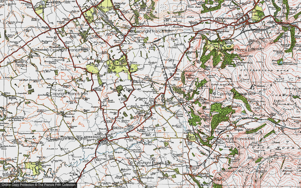 Old Map of Historic Map covering Ayton Firs in 1925