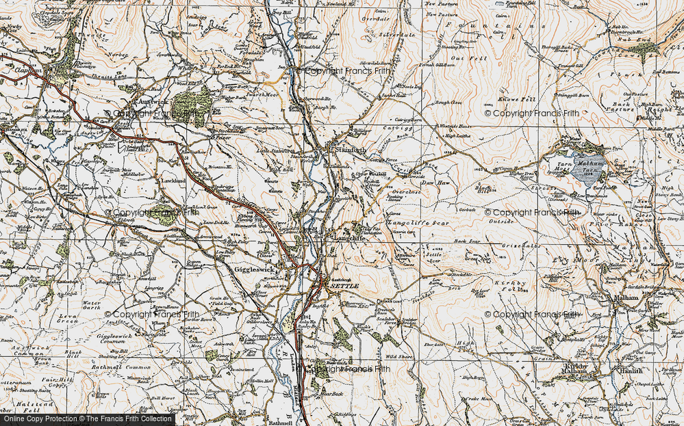 Old Map of Historic Map covering Attermire Cave in 1924