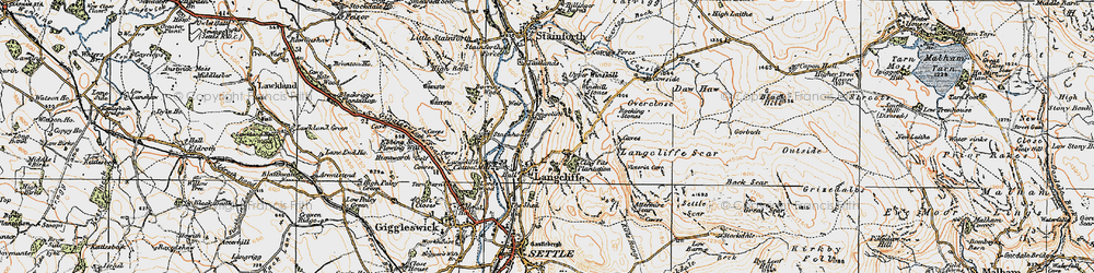 Old map of Langcliffe in 1924