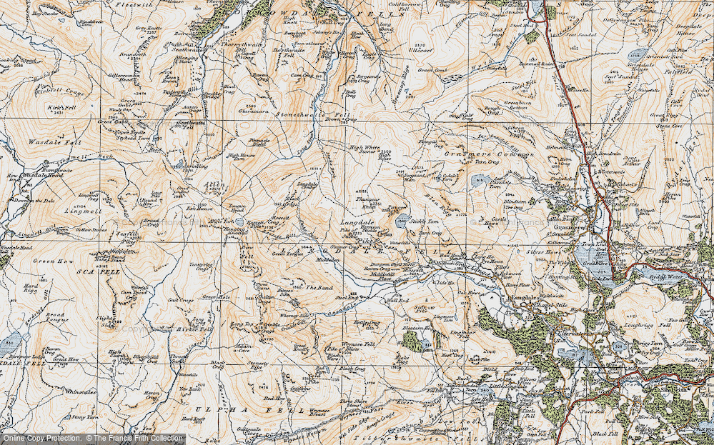 Old Map of Historic Map covering Ash Crags in 1925