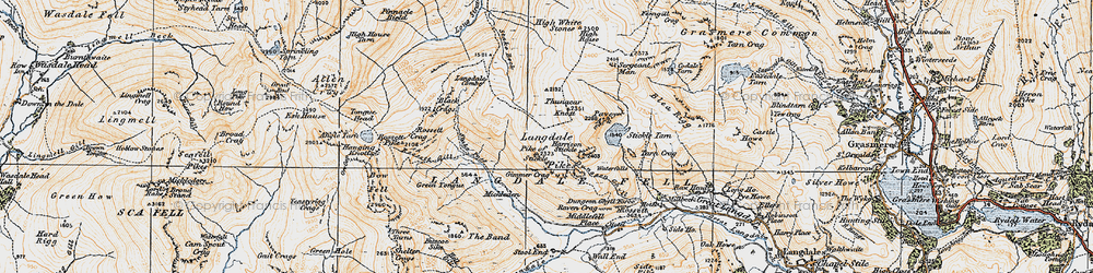 Old map of Langdale Pikes in 1925