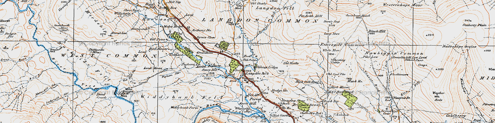 Old map of Langdon Beck in 1925