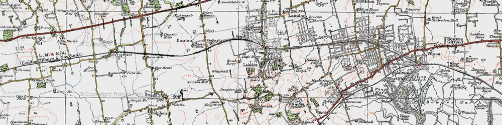 Old map of Langdon Hills in 1920