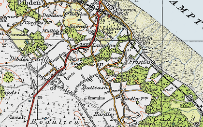 Old map of Langdown in 1919