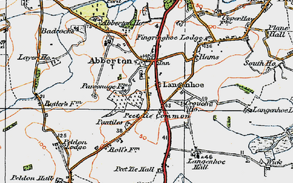 Old map of Langenhoe Hall in 1921
