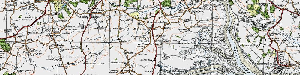 Old map of Langenhoe Hall in 1921