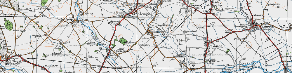 Old map of Langford in 1919
