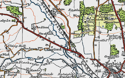 Old map of Langford in 1921