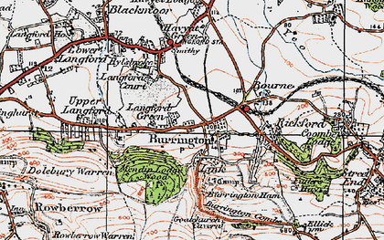 Old map of Langford Green in 1919