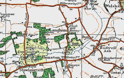 Old map of Langham in 1920