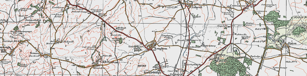 Old map of Langham Lodge in 1921