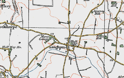 Old map of Langham in 1921