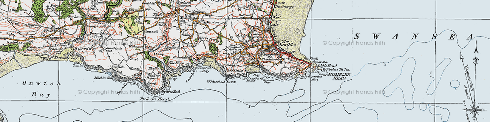 Old map of Langland in 1923