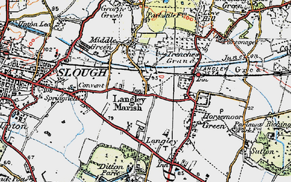 Old map of Langley in 1920
