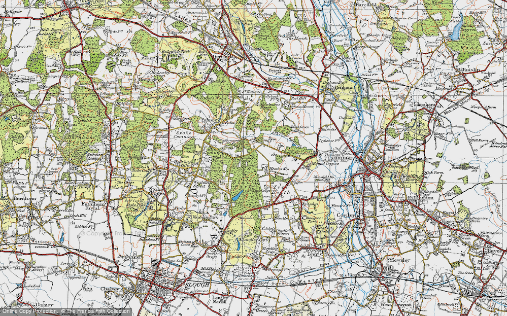 Old Map of Historic Map covering Alder Bourne in 1920