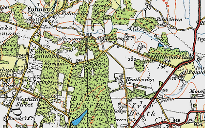 Old map of Alder Bourne in 1920