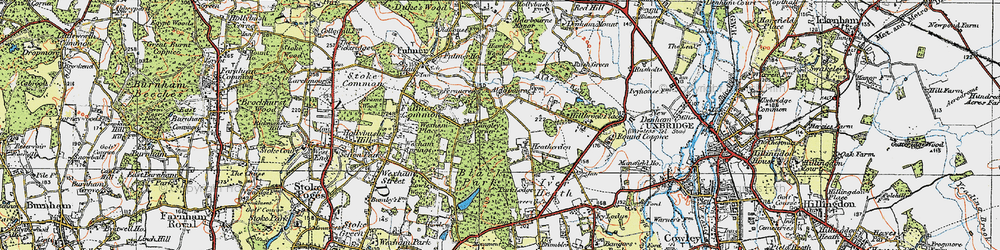 Old map of Alder Bourne in 1920