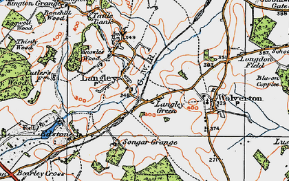 Old map of Langley Green in 1919
