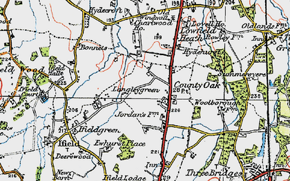Old map of Langley Green in 1920