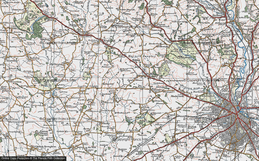 Old Map of Langley Green, 1921 in 1921