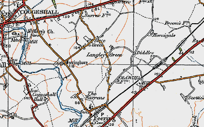 Old map of Langley Green in 1921