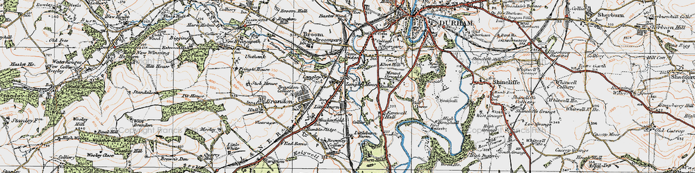 Old map of Langley Moor in 1925