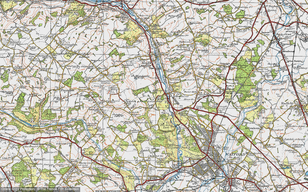 Old Map of Langleybury, 1920 in 1920