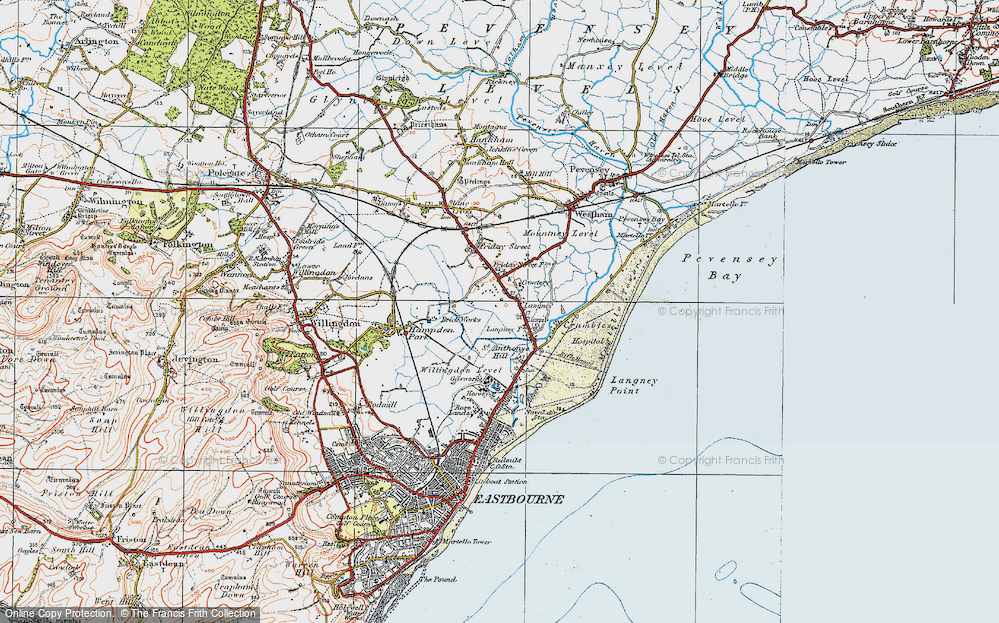 Old Map of Historic Map covering Langney Point in 1920