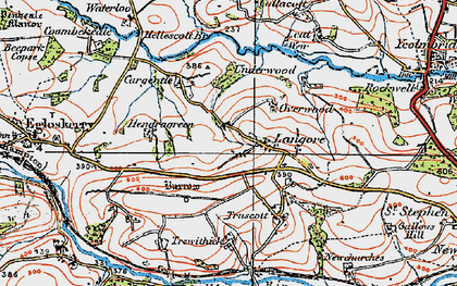 Old map of Langore in 1919