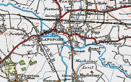 Old map of Langport in 1919