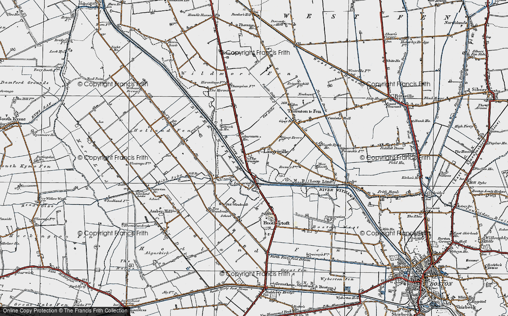 Old Map of Langrick, 1922 in 1922