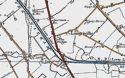 Old map of Langrick Grange in 1922