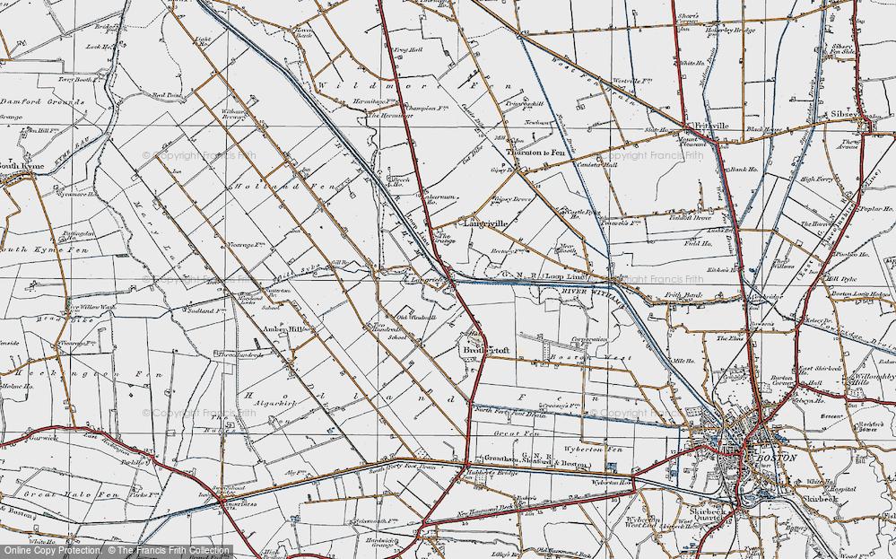 Old Map of Langrick Bridge, 1922 in 1922