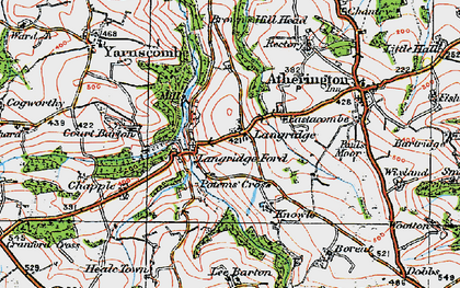 Old map of Langridgeford in 1919