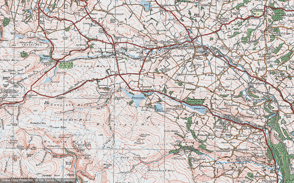 Old Map of Historic Map covering Langsett Resr in 1924