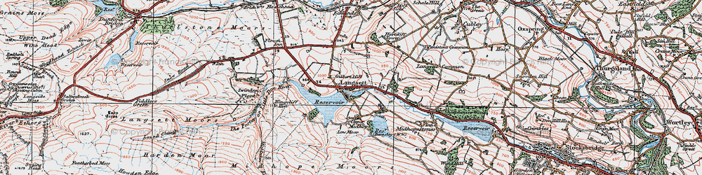 Old map of Langsett in 1924