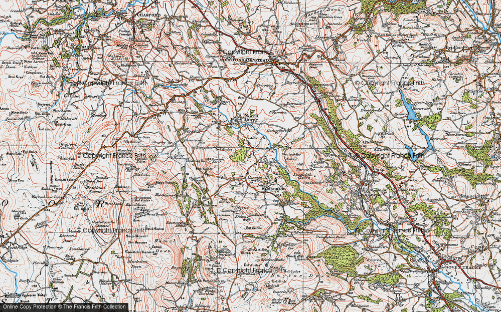 Old Map of Historic Map covering Aller in 1919