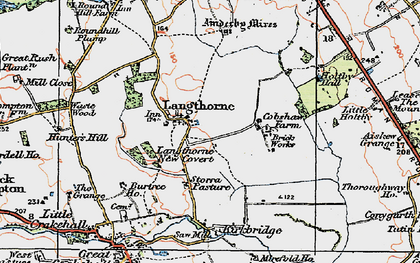 Old map of Ainderby Myres in 1925