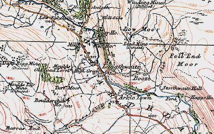 Old map of Langthwaite in 1925